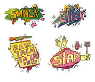 Set of comix cartoon exclamations. Smack for crushing or smashing fruit with foot, cloud click for fingers on mouse Stock Photos