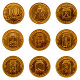 A set of commemorative coins on a white background, 2013 Stock Image