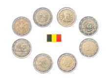 Set of Commemorative 2 euro coins of Belgium Royalty Free Stock Image
