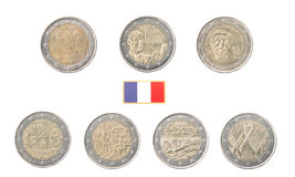 Set of Commemorative 2 euro coins of France Royalty Free Stock Photography