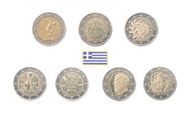 Set of Commemorative 2 euro coins of Greece Royalty Free Stock Image