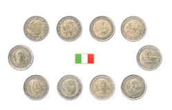 Set of Commemorative 2 euro coins of Italy Royalty Free Stock Photos