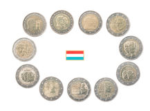 Set of Commemorative 2 euro coins of Luxembourg Stock Image