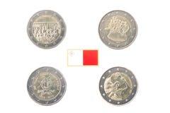 Set of Commemorative 2 euro coins of Malta Stock Image