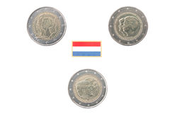 Set of Commemorative 2 euro coins of the Netherlands Royalty Free Stock Photography