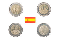 Set of Commemorative 2 euro coins of Spain Stock Photography