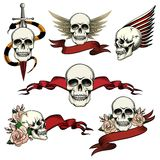 Set of commemorative skull icons. With roses blank ribbon banners wings and a sword an snake to honor and remember the dead vector drawings on white stock photos