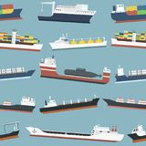 Cargo vessels and tankers shipping delivery bulk carrier freight boat seamless pattern background vector illustration Stock Photography