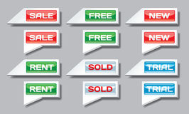 Set of commercial pointer signs Stock Photography