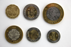 Set of Mexican coins. Set of common, current Mexican coins Royalty Free Stock Photo