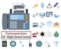 Set of 24 Communication Icons. Flat color design. Vector illustration Royalty Free Stock Photo