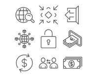 Communication, Minimize and Cash icons. Lock, Sign out and Usd exchange signs. Set of Communication, Minimize and Cash icons. Lock, Sign out and Usd exchange Royalty Free Stock Photography