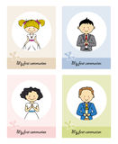 Set communion card. Cards boy and girls first communion Royalty Free Stock Images