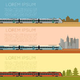 Set of commuter  train banners. Vector image of a Set of commuter  train banners Stock Photos