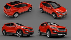 Set compact city crossover red color on a gray background. 3d rendering. Set compact city crossover red color on a gray background. 3d rendering Stock Image