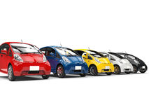 Set of compact modern electric cars - red, blue, yellow, white and black Royalty Free Stock Image