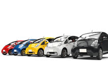 Set of compact multicolored modern electric cars Royalty Free Stock Image