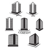 Set of Company building Vector logo and icon Stock Images