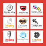 Set of company logos. A grid of company logo illustrations Stock Photos