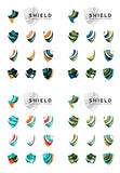 Set of company logotype branding designs, shield Royalty Free Stock Images