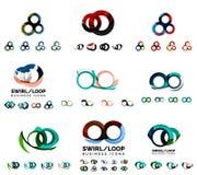Set of company logotype branding designs, swirl Stock Photos
