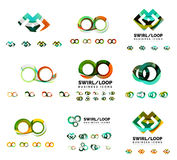 Set of company logotype branding designs, swirl infinity loop concept icons isolated on white Stock Image