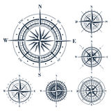 Set of compass roses  on white Stock Photos