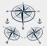 Set of compass roses or wind roses Stock Image