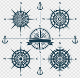 Set of compass roses or wind roses Stock Images