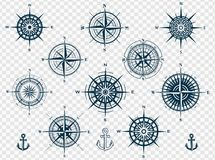 Set of compass roses or wind roses Royalty Free Stock Photos