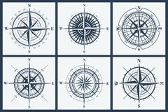 Set of compass roses or windroses Royalty Free Stock Images