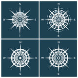 Set of compass roses or windroses Stock Photo
