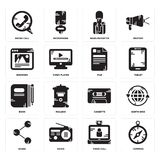 Set of Compass, Video call, Share, Cassette, Book, File, Browser, News reporter, Phone call icons. Set Of 16 simple  icons such as Compass, Video call, Radio Stock Photo