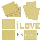 Set of composition of rectangular cookies baking delicious crisp light beige cracker wavy edge of love vector inscription isolated. Set of composition of vector illustration
