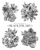 Set of compositions with dotted flowers, birds and plants drawn by hand with black ink Royalty Free Stock Image