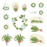 Set of compositions many bouquets of green leaves of plants with blue flowers sun sky spring bowskin beautiful vector. Set of compositions many bouquets of green Royalty Free Illustration