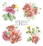 Set of compositions with spring flowers and plants drawn by hand with crayons Stock Photo