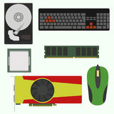 Set of computer accessories. Hard disk, RAM, video card, mouse processor keyboard Royalty Free Stock Images