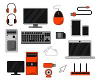 Set of computer accessories and peripheral. Big collection of smart computer accessories. Isolated on white background. Website page and mobile app design Royalty Free Stock Image
