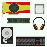 Set of computer accessories. Vector illustration stock illustration