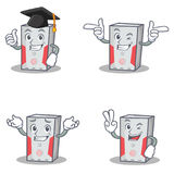 Set of computer character with graduation wink two finger. Vector art Stock Image