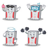 Set of computer character with ice cream fitness sailor diving Royalty Free Stock Photo