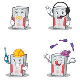 Set of computer character with silent headphone automotive juggling Royalty Free Stock Images