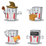 Set of computer character with witch box envelope virtual. Vector illustration Stock Photos