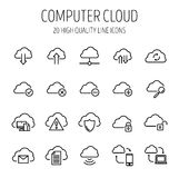 Set of computer cloud icons in modern thin line style. Royalty Free Stock Images