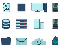 Set of computer and datebase icons. Flat Vector illustration on Royalty Free Stock Image