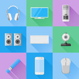 Set of computer devices flat icons. Computer monitor, keyboard, mouse, case, webcam, flash drive, headphones, speakers and mobile phone Stock Images