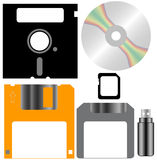 Set of Computer Disks. Including CD/DVD, diskette, floppy, memory card, zip disk and usb drive Royalty Free Stock Photography