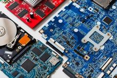 Set of computer electronic parts closeup stock photo