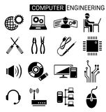 Set of computer engineering icon design for computer technician. Concept Royalty Free Stock Images